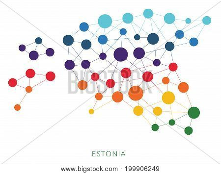 dotted texture Estonia vector rainbow colorful background