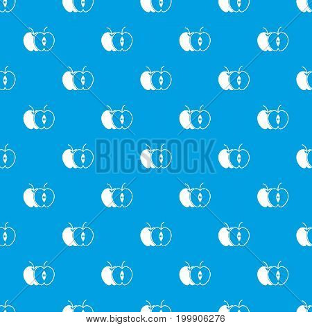 The whole apple and half pattern repeat seamless in blue color for any design. Vector geometric illustration