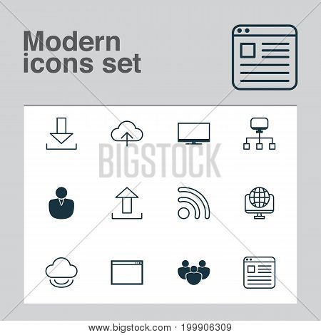 Internet Icons Set. Collection Of Storage, Transfer, Display And Other Elements