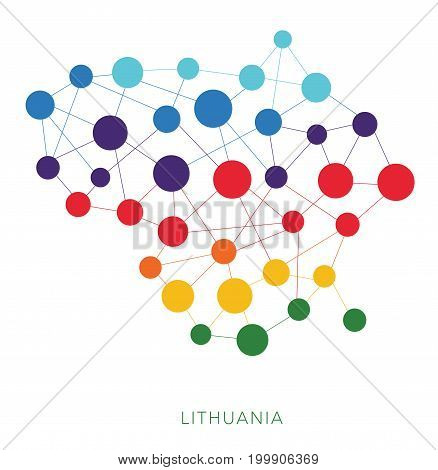 dotted texture Lithuania vector rainbow colorful background