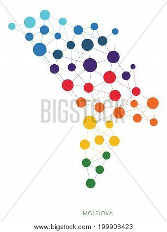 dotted texture Moldova vector rainbow colorful background