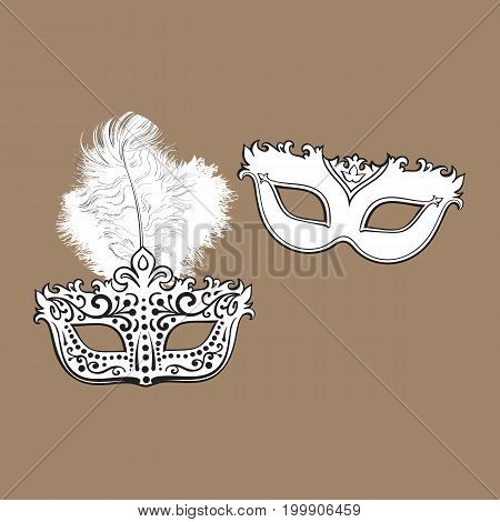 Two decorated Venetian carnival masks, one with feathers, another with ornaments, sketch vector illustration isolated on brown background. Realistic hand drawing of two carnival, Venetian mask