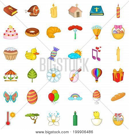Easter icons set. Cartoon style of 36 easter vector icons for web isolated on white background