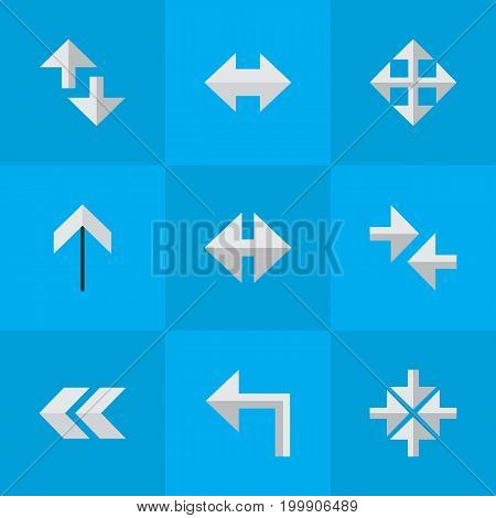 Elements Cursor, Everyway, Inside And Other Synonyms Loading, Up And Back.  Vector Illustration Set Of Simple Indicator Icons.