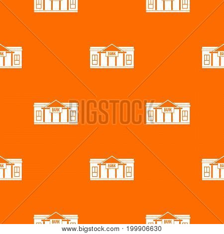 Bank building pattern repeat seamless in orange color for any design. Vector geometric illustration