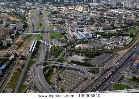 Elevated road junction in Moscow, Russia: 20 of July 2017