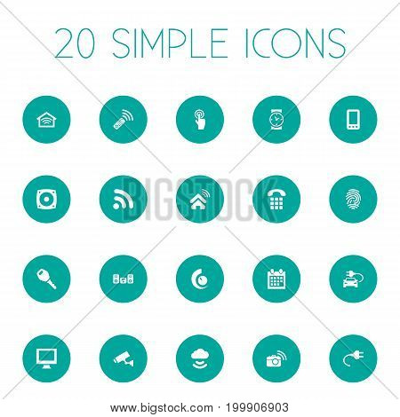 Elements Storage Acceess, Smart House, Wireless Connection And Other Synonyms Internet, Mobile And Socket.  Vector Illustration Set Of Simple Smart Icons.