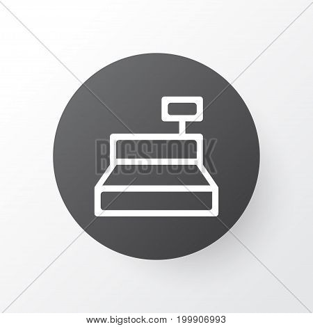 Premium Quality Isolated Till Element In Trendy Style.  Cashbox Icon Symbol.