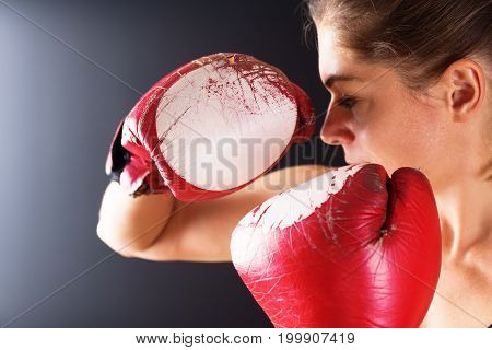 Close Up Woman Boxing Gloves Dark Background