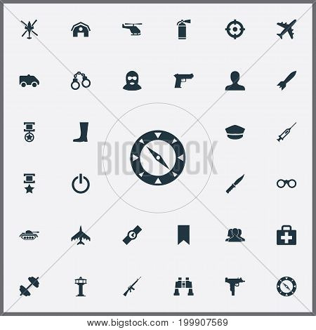 Elements Field Glasses, Medical Kit, Magnet Navigator And Other Synonyms Pennant, M4A1 And Magnet.  Vector Illustration Set Of Simple Military Icons.