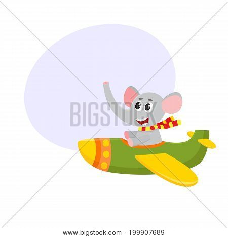 Cute funny elephant pilot character flying on airplane, cartoon vector illustration with space for text. Little baby elephant pilot, animal character flying in open airplane