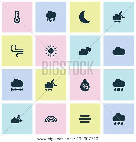 Air Icons Set. Collection Of Nightly, Rainy, Snowy And Other Elements