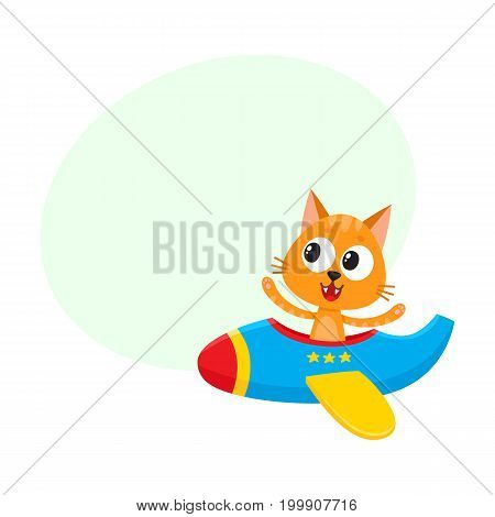 Cute funny cat, kitten pilot character flying on airplane, cartoon vector illustration with space for text. Little baby cat, kitten pilot, animal character flying in open airplane