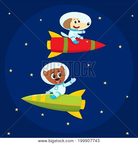 Cute little animal astronaut, spaceman characters, dog and bear, wearing spacesuits, riding rockets in open space, cartoon vector illustration. Dog and bear astronaut, spaceman characters in space