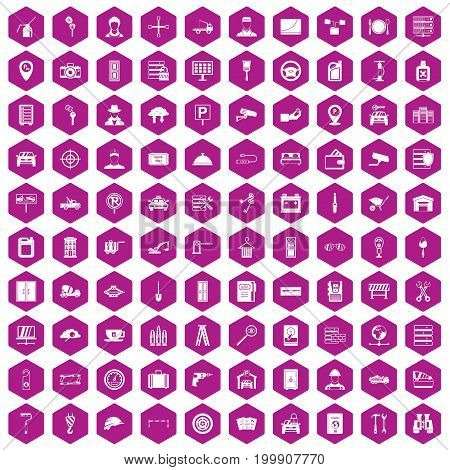 100 keys icons set in violet hexagon isolated vector illustration