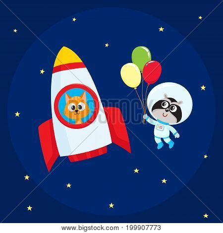 Cute little animal astronaut, spaceman characters, raccoon wearing spacesuit, cat in rocket, flying in open space, cartoon vector illustration. Cat and raccoon astronaut, spaceman characters in space