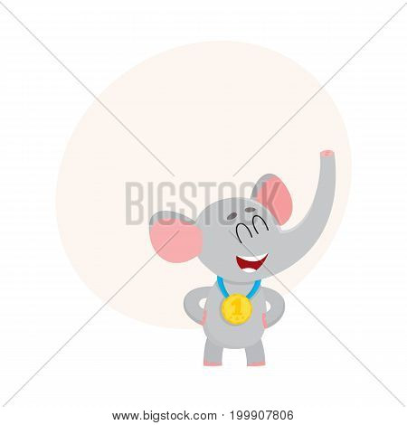 Cute, proud elephant character, champion wearing golden winner medal, cartoon vector illustration with space for text. Little baby elephant champion wearing medal for taking first place