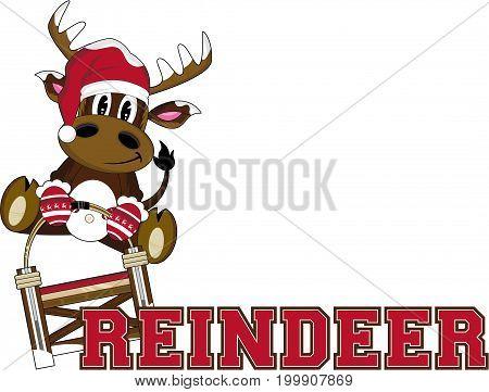 Cute Cartoon Santa Reindeer on Sledge Vector Illustration