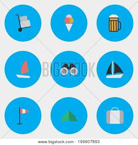 Elements Cargo, Flag, Sorbet And Other Synonyms Beer, Journey And Flag.  Vector Illustration Set Of Simple Vacation Icons.