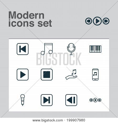 Audio Icons Set. Collection Of Mike, Microphone, Piano And Other Elements