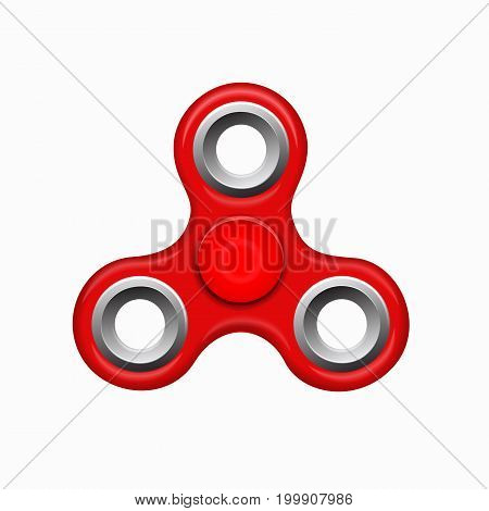 Hand fidget spinner toy - stress and anxiety relief. Red colorful spinner on a white background. Modern children's toy - red spinner.