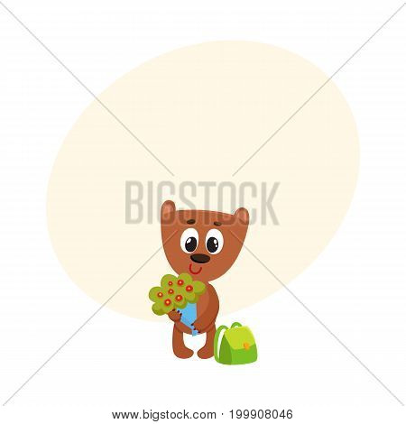Cute teddy bear student character with backpack holding bunch of flowers, back to school concept, cartoon vector illustration with space for text. Little bear student with bunch of flowers