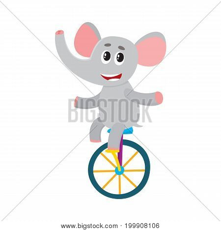 Cute little elephant character riding bicycle, unicycle, cycling, cartoon vector illustration isolated on white background. Little baby elephant animal character riding bike, bicycle, unicycle