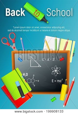 Back to School. Back to School colorful cartoon poster with blackboard and school supplies on blue background. Vector illustrations.