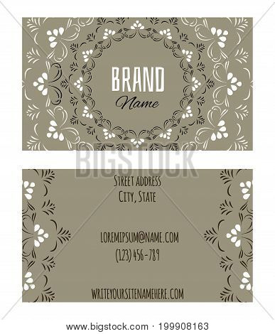 Stylish ornamental business name card with floral mandala design for yoga health wellness and spa activities