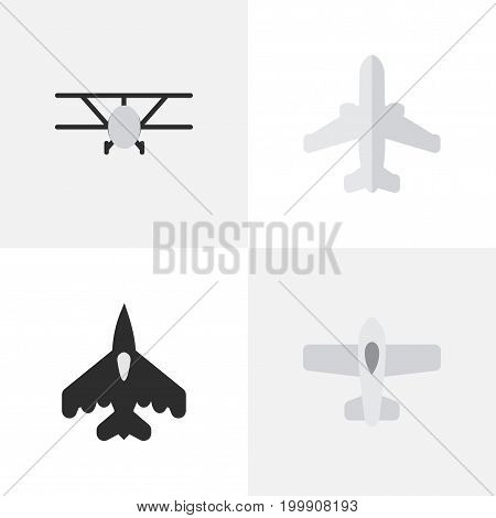 Elements Plane, Airplane, Flying Vehicle And Other Synonyms Craft, Aircraft And Flying.  Vector Illustration Set Of Simple Plane Icons.