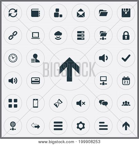 Elements Check, Reload, Chatting And Other Synonyms Date, User And Timer.  Vector Illustration Set Of Simple Practice Icons.