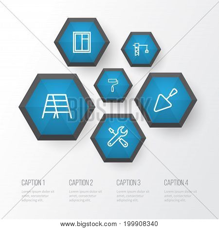 Industry Outline Icons Set. Collection Of Tools, Stepladder, Tower Crane And Other Elements