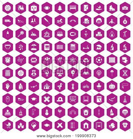 100 kids icons set in violet hexagon isolated vector illustration