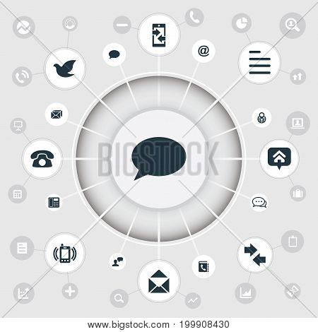Elements Smartphone Calling, Left Right Arrows, Talk And Other Synonyms Outgoing, Phone And Message.  Vector Illustration Set Of Simple Contact Icons.