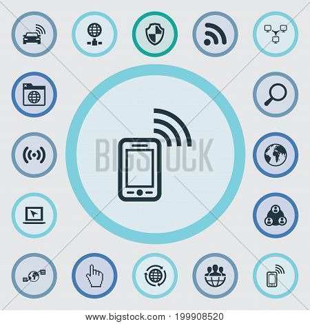 Elements Mobile Contact, Network Sharing, Publish And Other Synonyms Sedan, Spreading And Signal.  Vector Illustration Set Of Simple Web Icons.