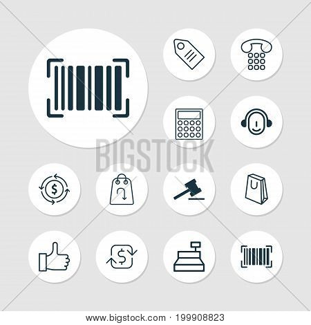 Ecommerce Icons Set. Collection Of Till, Gavel, Finance And Other Elements