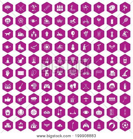 100 kids activity icons set in violet hexagon isolated vector illustration