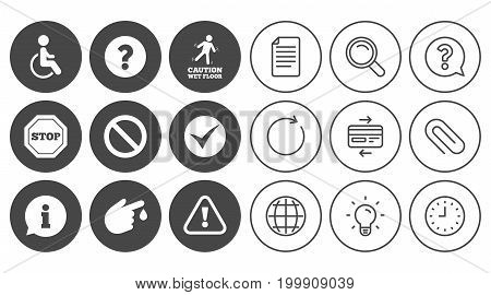 Attention caution icons. Question mark and information signs. Injury and disabled person symbols. Document, Globe and Clock line signs. Lamp, Magnifier and Paper clip icons. Vector