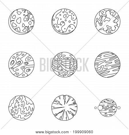 Fantasy planet icons set. Outline set of 9 fantasy planet vector icons for web isolated on white background