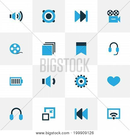 Multimedia Colorful Icons Set. Collection Of Volume Down, Heart, Headset And Other Elements