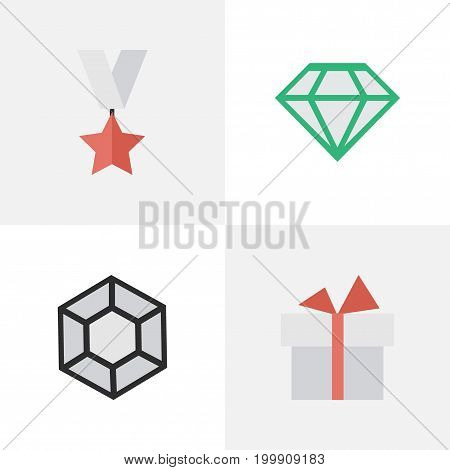 Elements Trophy, Brilliant, Gemstone And Other Synonyms Trophy, Surprise And Brilliant.  Vector Illustration Set Of Simple Prize Icons.