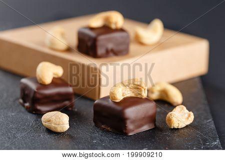 Handmade Chocolate Bonbons With Cashew