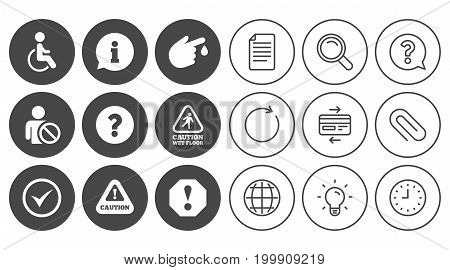 Attention notification icons. Question mark and information signs. Injury and disabled person symbols. Document, Globe and Clock line signs. Lamp, Magnifier and Paper clip icons. Vector