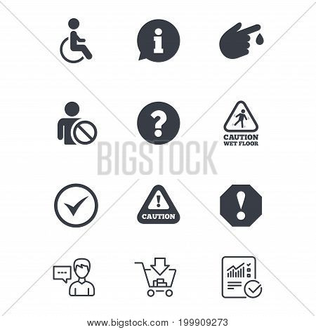 Attention notification icons. Question mark and information signs. Injury and disabled person symbols. Customer service, Shopping cart and Report line signs. Online shopping and Statistics. Vector