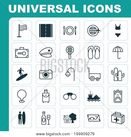 Tourism Icons Set. Collection Of Security Baggage, World Travel, First Aid Bag And Other Elements