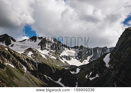 Beautiful Mountain Landscape With Trees And Mountain Peaks