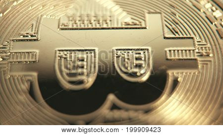 Crypto currency Gold Bitcoin - BTC - Bit Coin. Extreme Macro shots crypto currency Bitcoin coins.