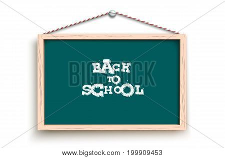 Vector illustration of chalkboard hanging on screw with back to school words.