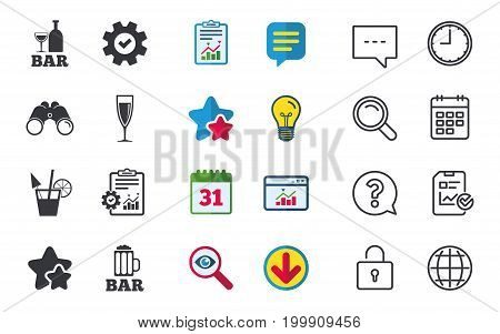 Bar or Pub icons. Glass of beer and champagne signs. Alcohol drinks and cocktail symbols. Chat, Report and Calendar signs. Stars, Statistics and Download icons. Question, Clock and Globe. Vector