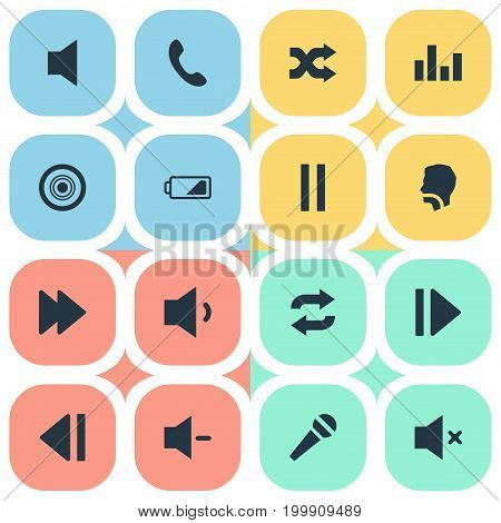 Elements Volume, Telephone, Singing And Other Synonyms Low Battery, Navigation And Quiter.  Vector Illustration Set Of Simple Audio Icons.